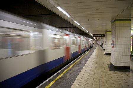 London - October 25, 2009: An interior view of the Underground Tube System in London, England on October 25, 2009. Londons system is the oldest underground railway in the world, dating back to 1863.