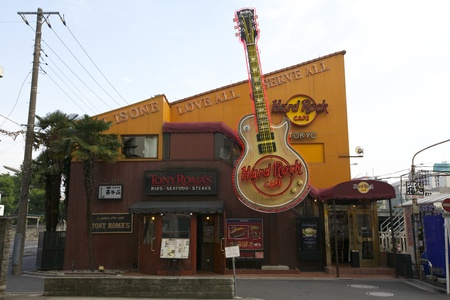 TOKYO - JULY 3: World famous Hard Rock Cafe on July 3, 2011 in Tokyo, Japan. Currently, there are 150 Hard Rock locations in 53 countries with the first opening it Stock Photo - 11379402