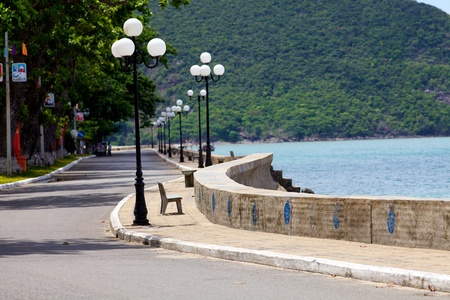 con dao: Oceanfront Boardwalk and Sea Wall on Con Dao Island, Vietnam