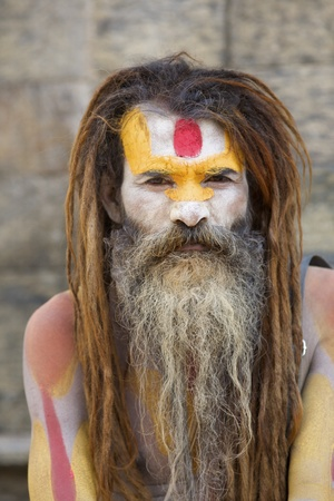 KATHMANDU-OCT 7: A Sadhu at Pashupatinath Temple in Kathmandu, Nepal on October 7, 2008. The two primary sectarian divisions in sadhu community are Shaiva sadhus and Vaishnava sadhus.  Stock Photo - 11390207