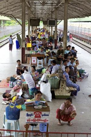 Yangon, Myanmar - October 16: Passengers aboard a train in Yangon, Myanmar on October 16, 2011.  Stock Photo - 11652803
