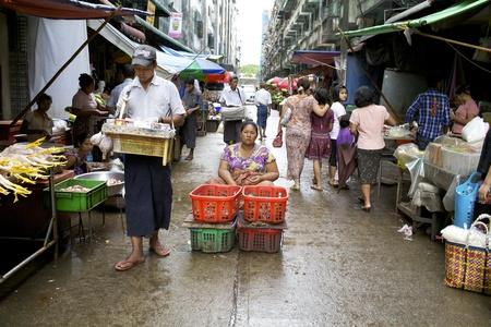 Yangon, Myanmar - Oct 16: Street vendors in the streets of Yangon, Myanmar on October 16, 2011. Stock Photo - 11654208