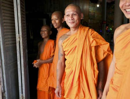 SIEM REAP, CAMBODIA - JAN 25: Unidentified Buddhist monks at Wat Chowk in Siem Reap on January 25, 2012.