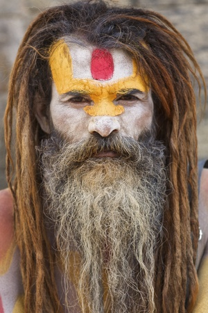 KATHMANDU-OCT 7: A Sadhu at Pashupatinath Temple in Kathmandu, Nepal on October 7, 2008.  Stock Photo - 13267119