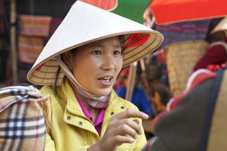 conical hat: BAC HA, VIETNAM - NOV 21: Unidentified Vietnamese woman selling clothes at market on November 21, 2010 in Bac Ha, Vietnam.