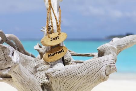 Just married teken op drijfhout in de voorkant van blauwe oceaan