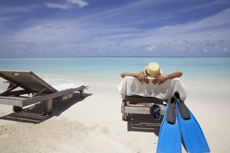 Subathing op de Maldiven Sand Beach
