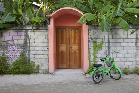 green door: Pink Entry of Home on Wall