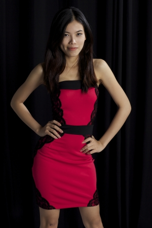 girl in red dress: Asian girl red dress
