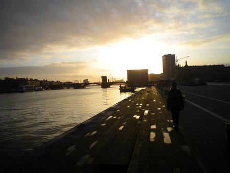 dockside: Dockside scene at sunset