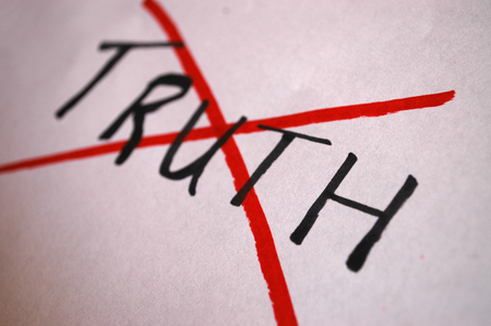The word truth scored out, depicting post-truth