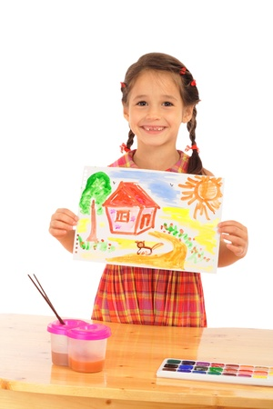 Smiling little girl with watercolor painting, isolated on white Stock Photo