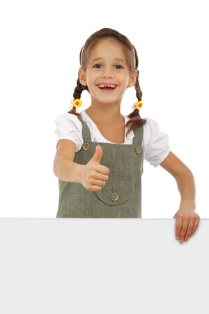 people holding sign: Little girl with an empty banner and thumb up sign, isolated on white