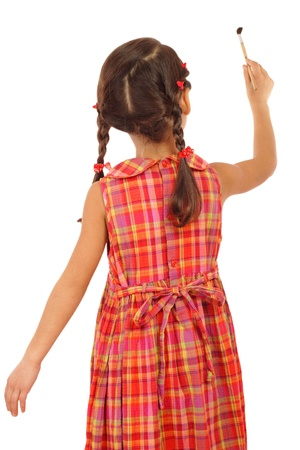 painting drawings: Little girl with a paintbrush, rear view, isolated on white Stock Photo