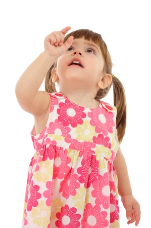 look up: Little girl with empty pointing hand, isolated on white Stock Photo