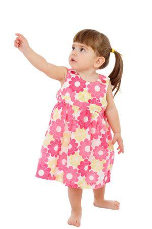ragazza che indica: Bambina con mano vuota di puntamento, isolata on white