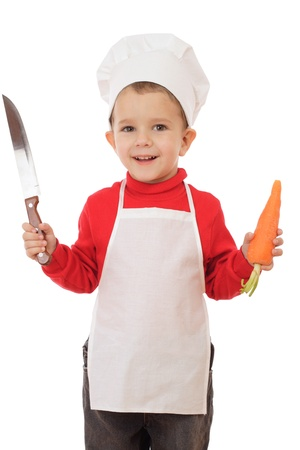Little chief-cooker with kitchen knife and carrot, isolated on white Stock Photo - 9344075