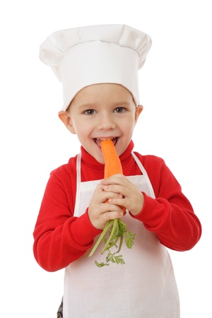 Little smiling chief-cooker with carrot, isolated on white Stock Photo - 9369366