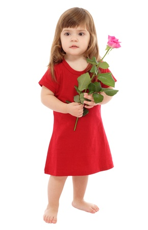 Little baby with pink rose, isolated on white photo