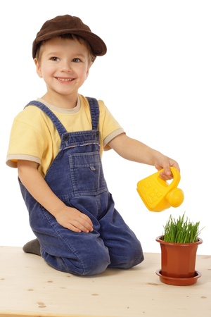 Smiling little boy watering potted grass, isolated on white photo