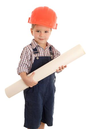 Little builder in coveralls and helmet with blueprint, isolated on white photo