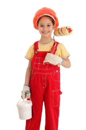 paintroller: Little smiling builder in coveralls with paintroller and can, isolated on white