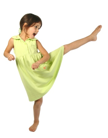 Screaming little girl kick by foot Stock Photo