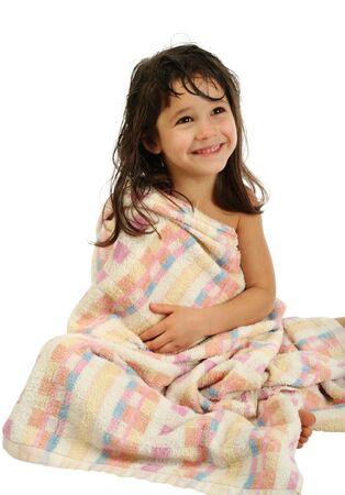 Smiling little girl in towel Stock Photo - 9527448