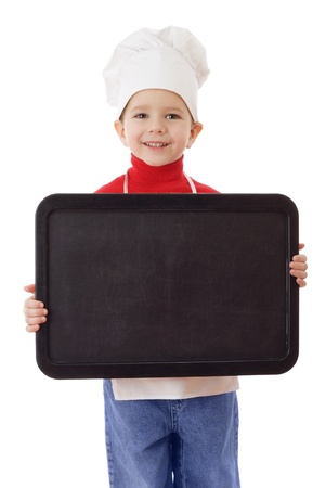 Little cooker with empty horizontal chalkboard, isolated on white photo