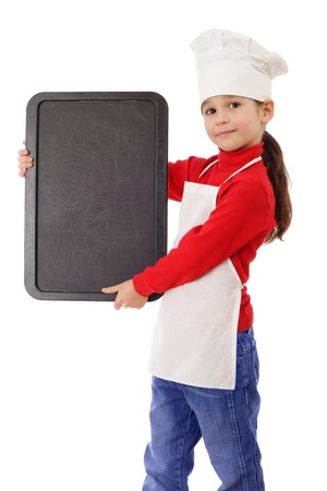 Little cooker with empty vertical chalkboard, isolated on white photo