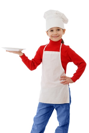 Little smiling cooker with empty dish, isolated on white photo