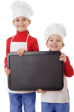 Little cookers with empty horizontal chalkboard, isolated on white photo