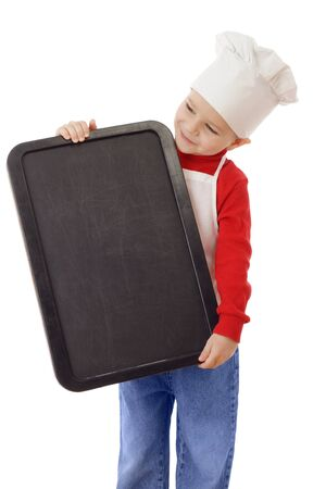 Little smiling cooker with empty vertical chalkboard, isolated on white photo