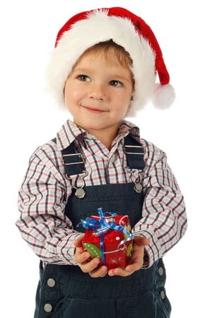 Smiling little boy with little Christmas gift box Stock Photo - 9571351