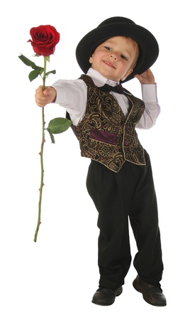 flowers boy: Little boy with red rose
