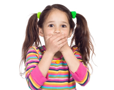 mouth closed: surprised little girl covered his mouth with his hands