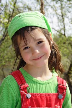 nice weather: Nice smiling little girl Stock Photo