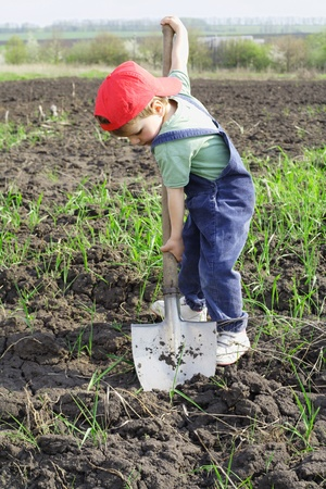 Little boy to dig with big shovel photo