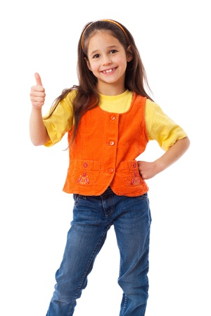 elementary age girl: Smiling little girl with thumbs up sign, isolated on white