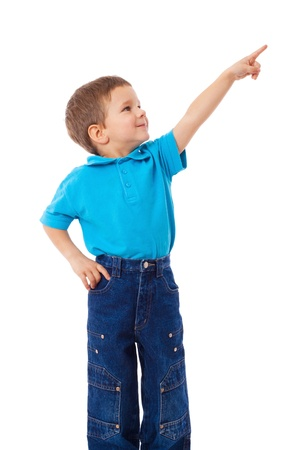 pointing up: Little boy with empty pointing hand, isolated on white