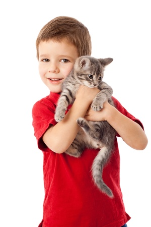 fondling: Little boy with gray kitty in hands, isolated on white