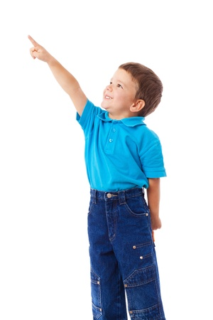 Little boy with empty pointing lifted up hand, isolated on white Stock Photo - 11299457