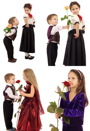Set of little boys and girls with roses, isolated on white photo