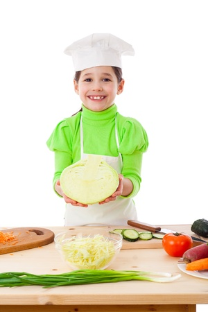 Little cooker with cabbage, isolated on white photo
