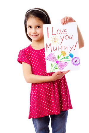 Little girl with drawing for mum, isolated on white photo