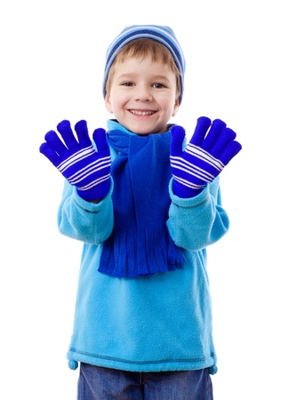 hi hat: Smiling boy in winter clothes, isolated on white