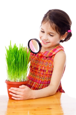 Girl looking at the grass through a magnifying glass on the desk, isolated on white photo