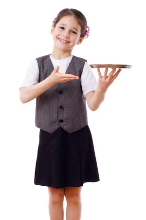 Little waitress standing with empty tray, isolated on white photo