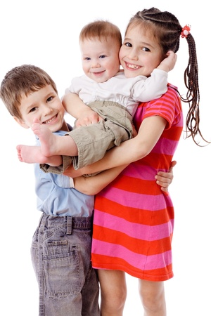 baby hairstyle: Family - three smiling kids together, isolated on white