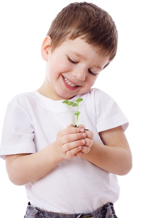 Smiling boy looking to sprouts in hands, isolated on white photo